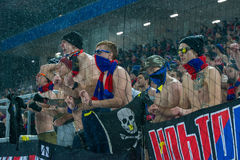 Fan de futebol de CSKA no jogo de futebol Fotografia de Stock Royalty Free