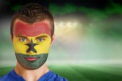 Fan de futebol de Gana na pintura da cara fotos de stock royalty free
