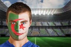 Fan de futebol de Irã na pintura da cara fotografia de stock royalty free