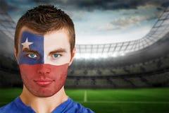 Fan de futebol do Chile na pintura da cara imagem de stock