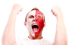 Fan de futebol gritando Fotos de Stock Royalty Free