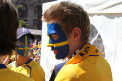 Fan de futebol suecos Fotos de Stock Royalty Free