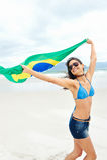 Fan de la mujer de la bandera del Brasil Foto de archivo