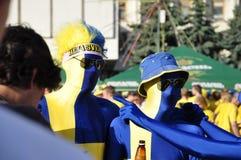 Fan de la Suède s'enracinant pour leur équipe Photos stock