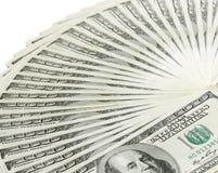 Fan de los billetes de banco del dólar Imagen de archivo libre de regalías