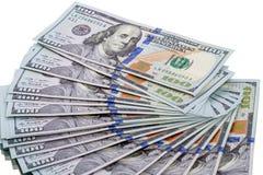 Fan de los nuevos cientos billetes de dólar Fotos de archivo libres de regalías