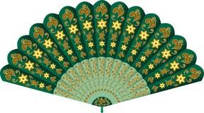 Fan de main avec le modèle floral Image libre de droits