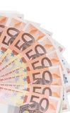 Fan de 50 notas euro Foto de archivo libre de regalías