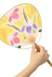 Fan de papier traditionnelle japonaise UCHIWA Images libres de droits