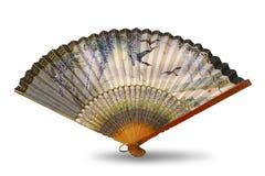 Fan de seda china antigua - objeto aislado en blanco Fotos de archivo libres de regalías