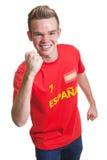 Fan de sports espagnol encourageant avec les cheveux blonds Image libre de droits