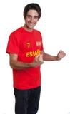 Fan de sports espagnol encourageant avec les cheveux noirs Image libre de droits