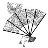 Fan decorated by contoured butterflies and asian style flowers. Zen style picture for anti stress drawing or colouring book. Hand-drawn, retro, doodle, vector Royalty Free Stock Photo