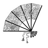 Fan decorated by contoured butterflies and asian style flowers. Zen style picture for anti stress drawing or colouring book. Hand-drawn, retro, doodle, vector Royalty Free Stock Images