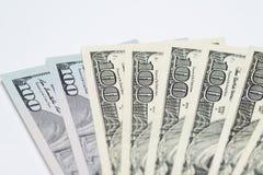 Fan dei contanti dei soldi, $100 fatture Fotografia Stock