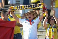 Fan del equipo nacional de Colombia durante Copa América Centenario Imagen de archivo libre de regalías