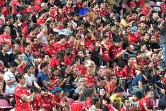 Fan del fútbol Tailandia en el fútbol internacional Invi de Bangkok Fotos de archivo