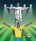 Fan del mundial del Fifa con Cristo la estatua del redentor Imágenes de archivo libres de regalías