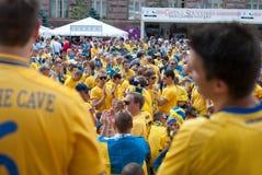 Fan della Svezia nell'euro 2012 Fotografie Stock Libere da Diritti