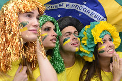 Fan di calcio brasiliani responsabili. Fotografia Stock