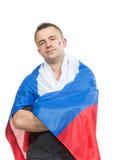Fan di calcio russo felice con la bandiera nazionale russa c Immagini Stock Libere da Diritti