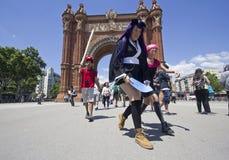 Fan di cosplay a Barcellona, Spagna Fotografie Stock