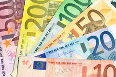 Fan of different euro banknotes Royalty Free Stock Images
