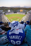 Fan of Dodger Manny Ramirez. #99, sits high in grandstands overlooking home plate at National League Championship Series (NLCS), Dodger Stadium, Los Angeles Stock Images
