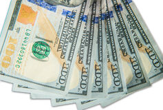 Fan of 100 dollar bills Stock Image