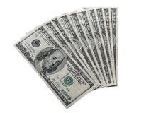 Fan of 100 dollars bills isolated. On white stock photo