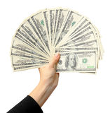 Fan of dollars in a female hand, white background Stock Photos