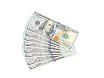 Fan of 100 dollars greenbacks. Royalty Free Stock Photo