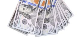 Fan of 100 dollars greenbacks. Royalty Free Stock Photos