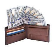 Fan of dollars in a wallet Stock Photos
