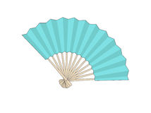 Fan. Drawing of an isolated blue fan vector illustration