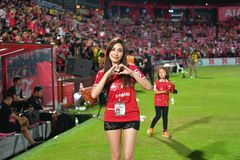 Fan du football Thaïlande dans le football international Invi de Bangkok Images stock