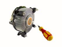 Fan e cacciavite del dispositivo di raffreddamento del dissipatore di calore dell'unità di elaborazione Fotografia Stock