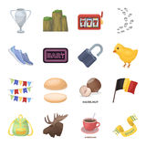 Fan, education, food and other web icon in cartoon style.Detective, Animals, Country icons in set collection. Royalty Free Stock Images