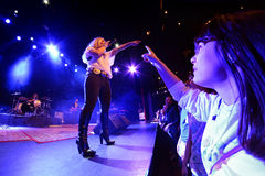 A fan enjoys with Amaia Montero (band) concert at Barts Stage Royalty Free Stock Photos
