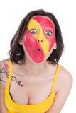 Fan espagnole femelle, d'isolement sur le blanc Images libres de droits