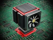 Fan et radiateur d'ordinateur sur l'unité centrale de traitement illustration 3D Photographie stock