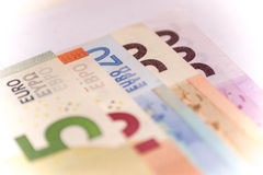 Fan of euro banknotes, close up Stock Photo