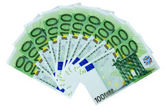 Fan 100 Euro Banknotes Isolated. Frontal view fan of 100 euro banknotes isolated on white background Stock Image