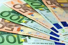 Fan Euro banknoty Obrazy Stock