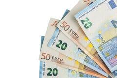 Fan euro de los billetes de banco aislada en el fondo blanco Fotos de archivo libres de regalías