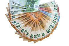 Euro money notes. Fan of euro banknotes isolated. royalty free stock photography