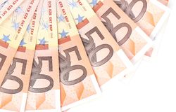Fan of 50 euro notes. There is space for text Royalty Free Stock Image