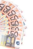 Fan of 50 euro notes. Whole background Royalty Free Stock Photos