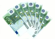 Fan of euro on white background Royalty Free Stock Images
