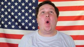 Fan för sport för lycklig amerikansk supportermanpresentation gladlynt arkivfilmer